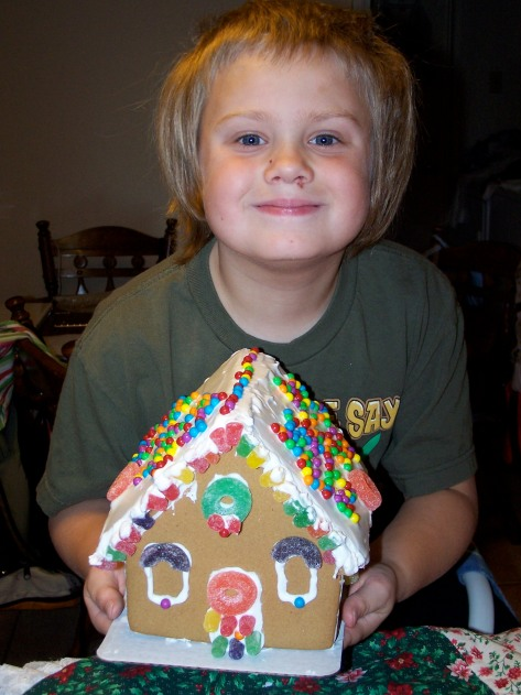 Keb and the gingerbread house.